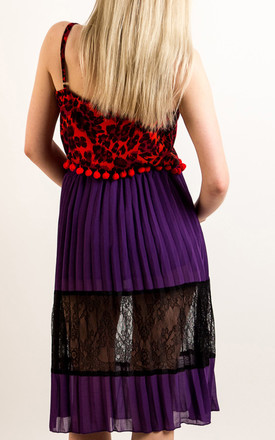Pleated Chiffon Midi Skirt with Lace Detail in Purple by CY Boutique