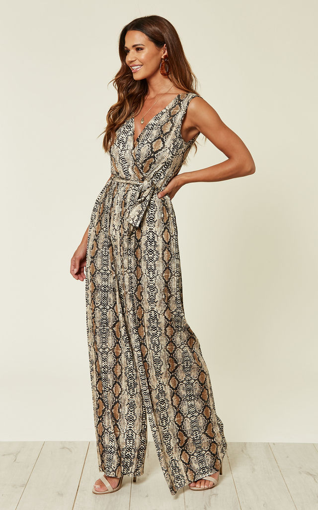 SNAKE PRINT PLEATED TIE-WAIST JUMPSUIT by AX Paris