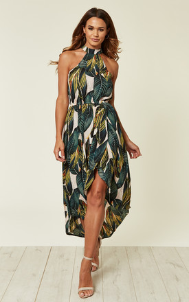 Leaf Print Asymmetric Choker Neck Midi Dress by AX Paris Product photo