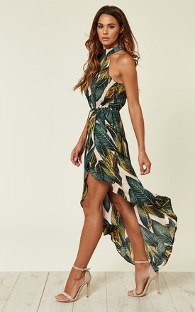 LEAF PRINT ASYMMETRIC CHOKER NECK MIDI DRESS by AX Paris