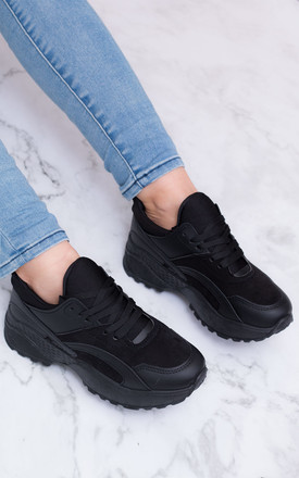 FLAIME Chunky Lace Up Flat Trainers Shoes - Black Suede Style by SpyLoveBuy