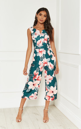 Green Floral Print Bardot Culotte Jumpsuit by Lilah Rose