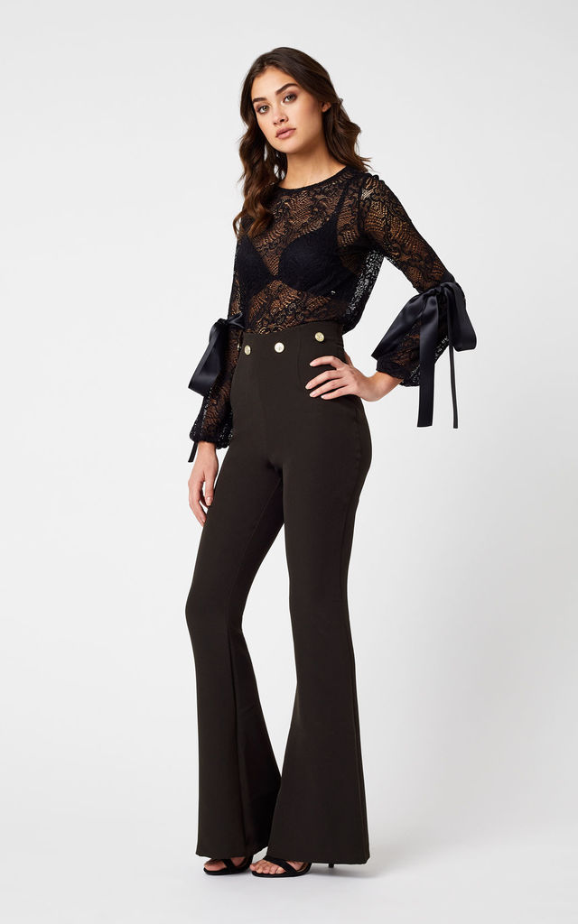 Brylee Black High Waist Flared Trousers by Vesper247