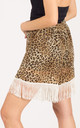 White Fringed Shorts in Leopard Print by CY Boutique