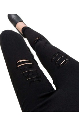 High Waist Super Stretch Rip Skinny Jeggings With Pockets in Black by Urban Mist
