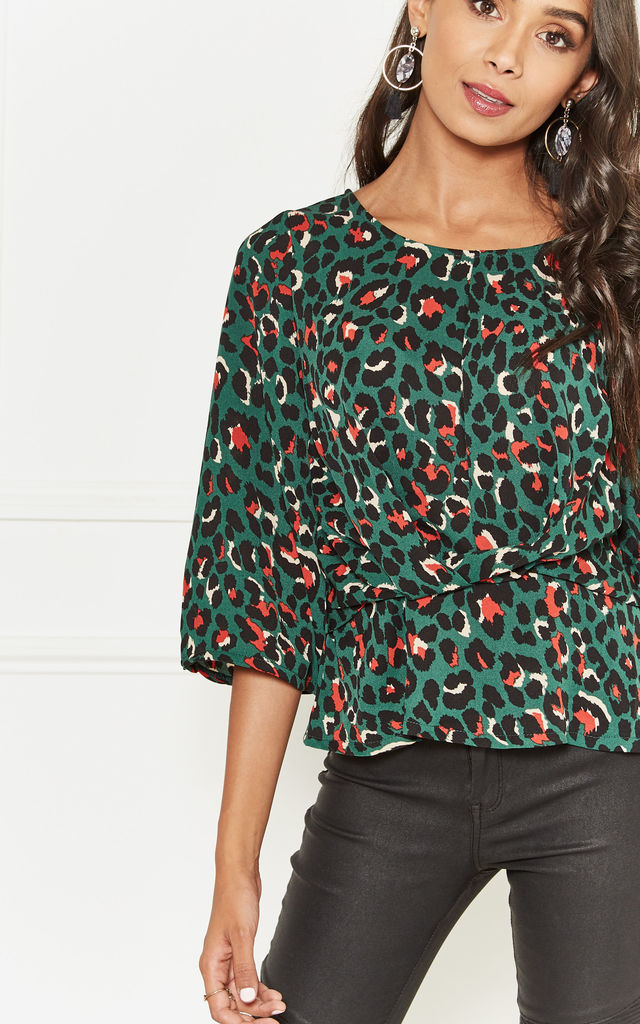 Green Leopard Knot Detail Blouse by Lilah Rose