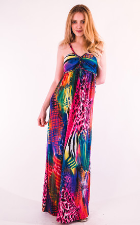 Strappy Maxi Dress in Vibrant Pink Animal Print by CY Boutique