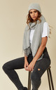 Light grey long scarf and wooly hat set by Pieces