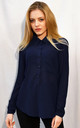 Long Sleeve Chiffon Shirt in Navy by CY Boutique