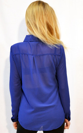 Long Sleeve Chiffon Shirt in Royal Blue by CY Boutique
