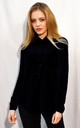 Long Sleeve Chiffon Shirt in Black by CY Boutique