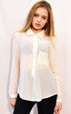 Long Sleeve Chiffon Shirt in Cream by CY Boutique