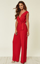 RED PLEATED TIE-WAIST JUMPSUIT by AX Paris