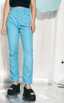 Escada trousers 90s vintage high-waisted pants in turquoise by Pop Sick Vintage