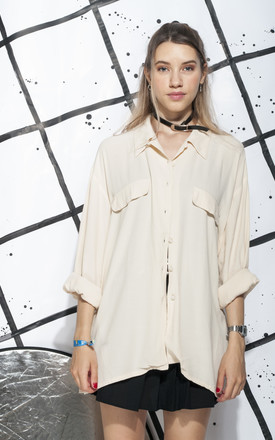 90s vintage minimalist shirt in beige by Pop Sick Vintage