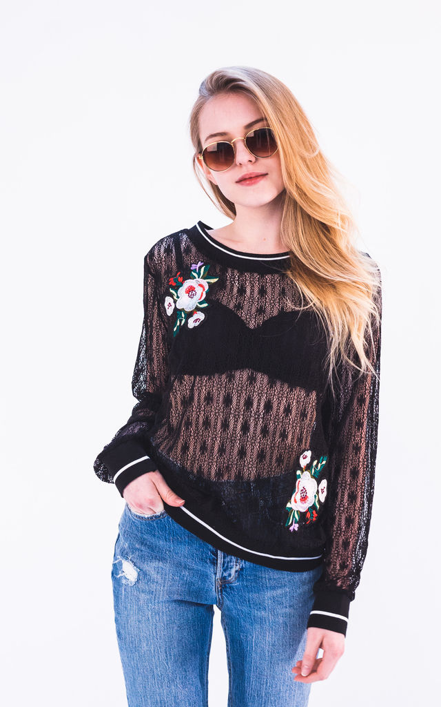 Rose floral patch embellished Lace sweatshirt by CY Boutique