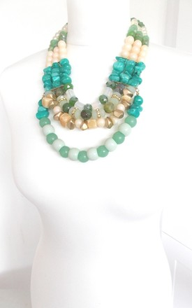 Chunky Green and Turquoise Beaded Layered Statement Necklace by Olivia Divine Jewellery