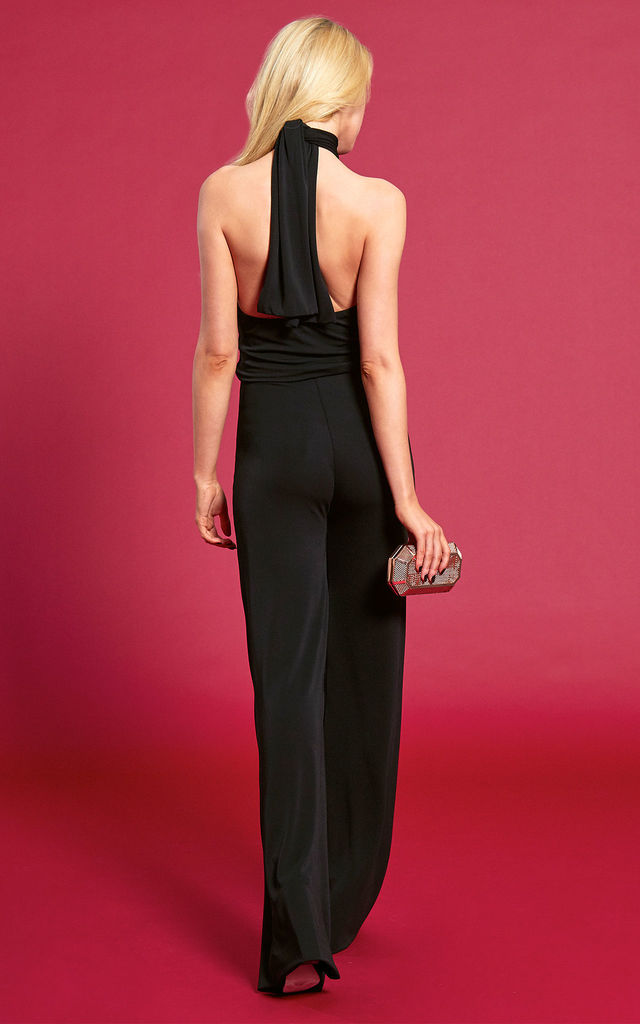 The Aurora Halterneck Jumpsuit in Black by Gorgeous Couture