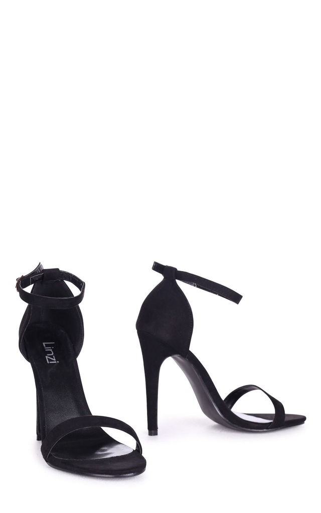 Jami Black Suede Single Sole Barely There Heeled Sandal by Linzi