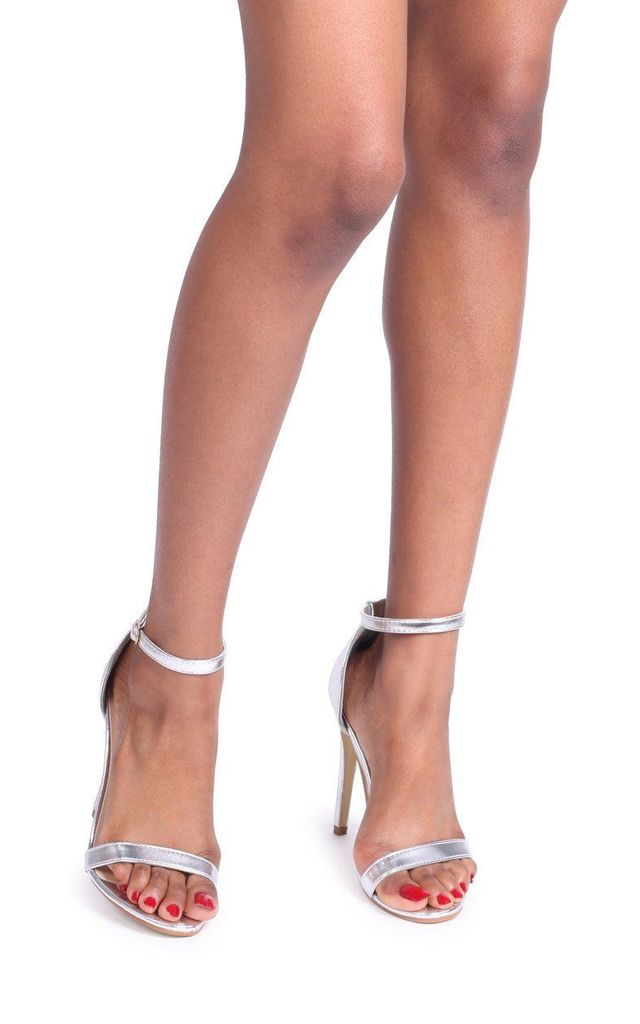 Jami Silver Metallic Single Sole Barely There Heeled Sandal by Linzi