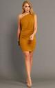 The Wren One Shoulder Bodycon Dress in Golden Yellow by Gorgeous Couture