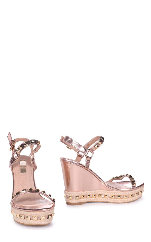 Madonna Rose Gold Metallic Wedge With Studded Detail & Rope Trim by Linzi