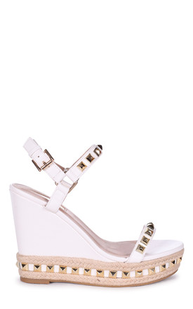 Madonna White Wedge With Studded Detail & Rope Trim by Linzi