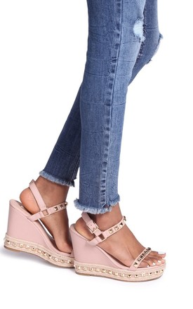 Madonna Nude Nappa Wedge With Studded Detail & Rope Trim by Linzi