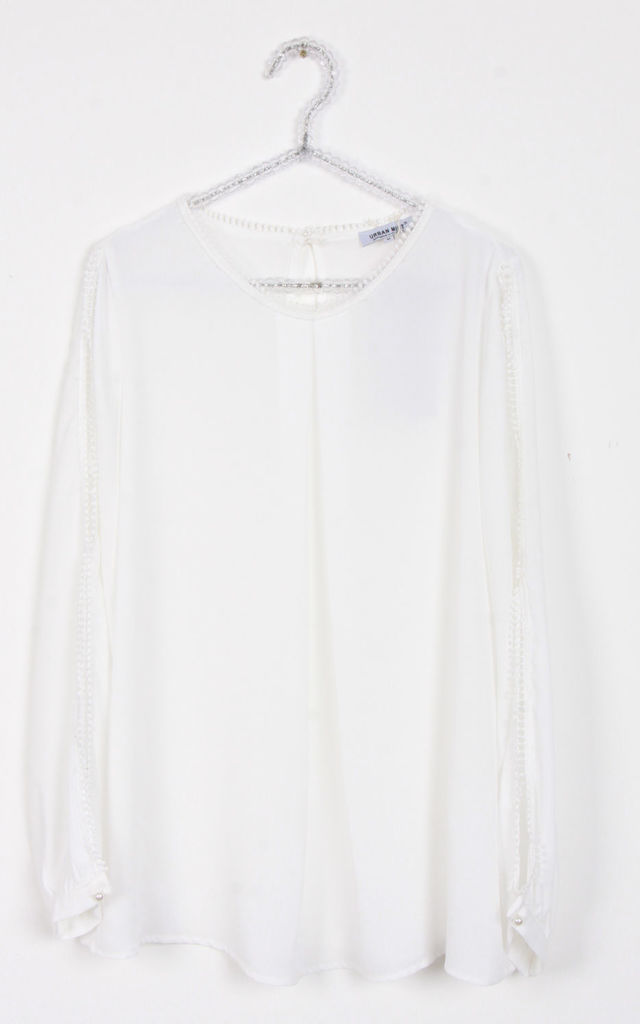 White Lace Trim Split Arm Detail Floaty Blouse Top by Urban Mist
