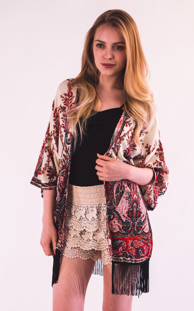 Fringed Kimono Cover Up in Red Paisley Print by CY Boutique