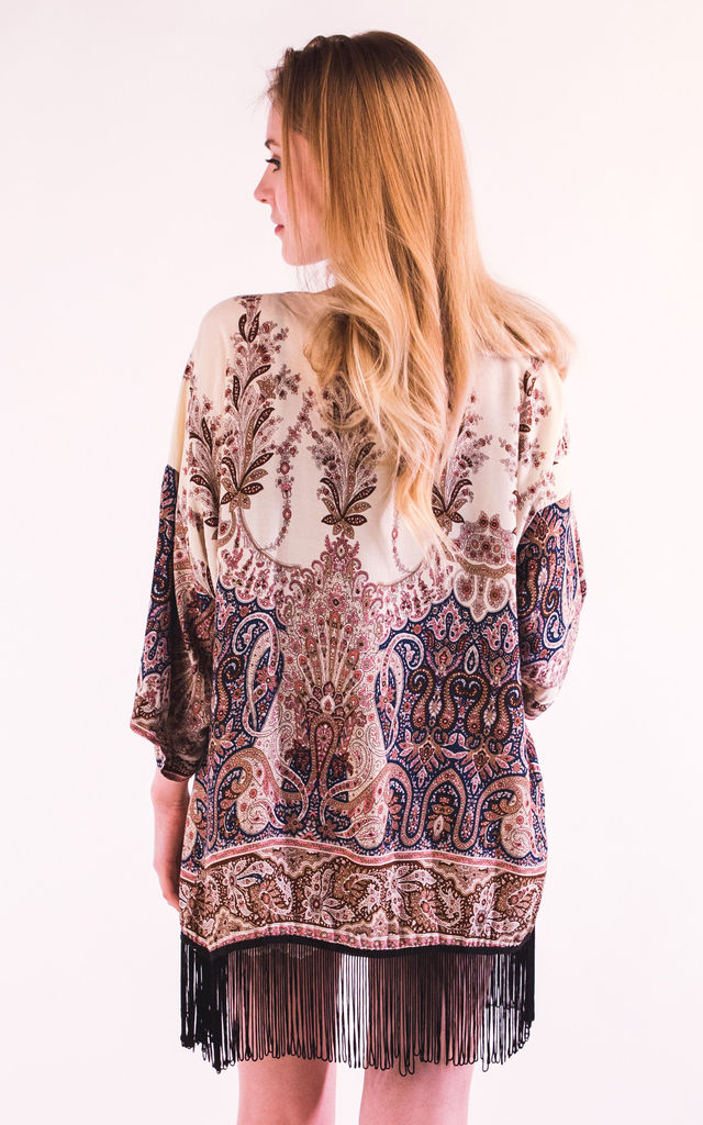 Fringed Kimono Cover Up in Blue Paisley Print by CY Boutique