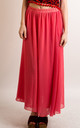 Chiffon Maxi Skirt with Underlay in Pink by CY Boutique