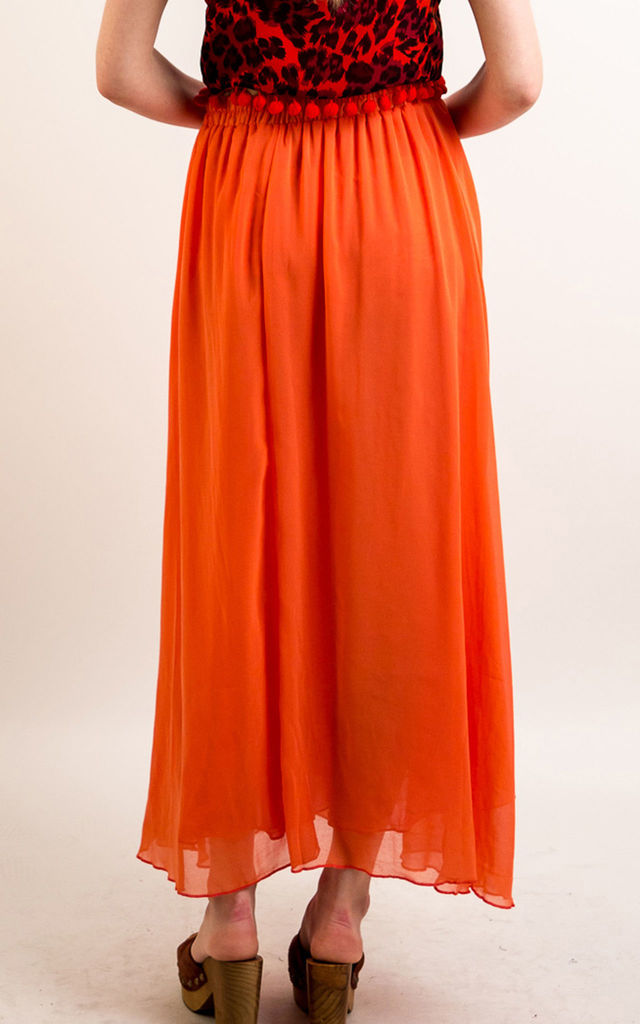 Chiffon Maxi Skirt with Underlay in Orange by CY Boutique