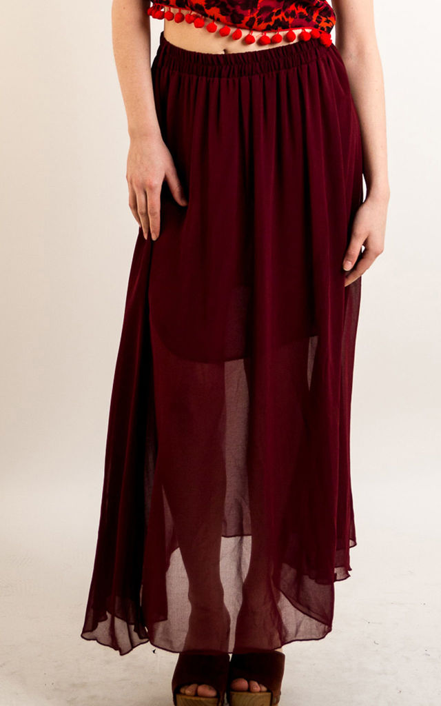 Chiffon Maxi Skirt with Underlay in Burgundy by CY Boutique