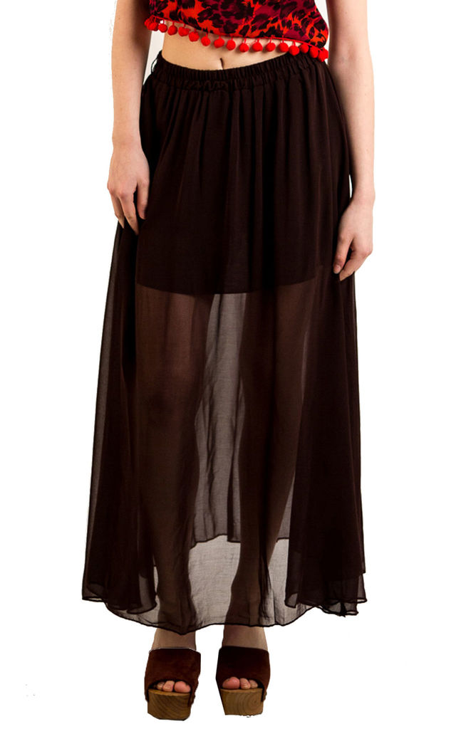 Chiffon Maxi Skirt with Underlay in Brown by CY Boutique