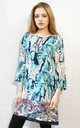 Shift Dress with 3/4 Length Sleeves in Green Abstract Print by CY Boutique
