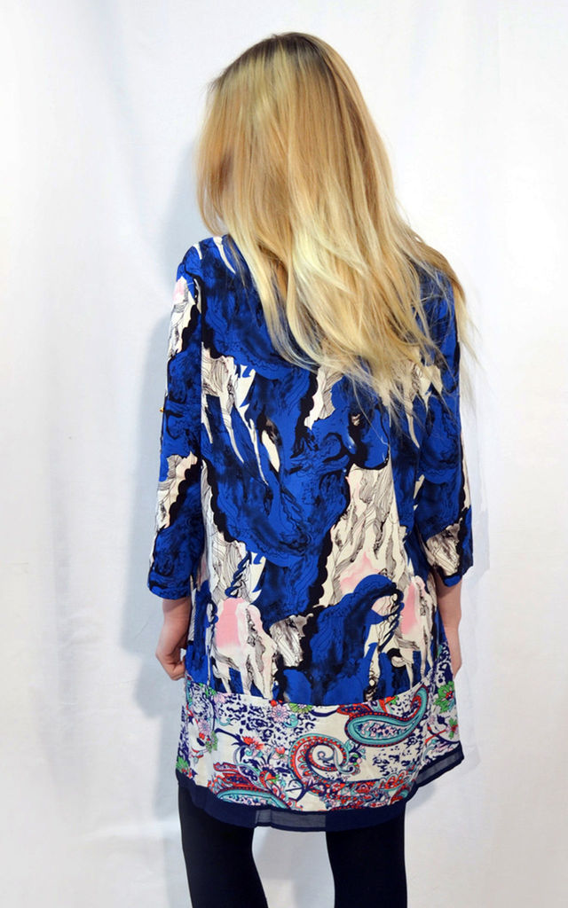 Shift Dress with 3/4 Length Sleeves in Blue Abstract Print by CY Boutique