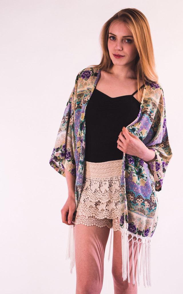Fringed Kimono Cover Up in Purple Paisley Print by CY Boutique