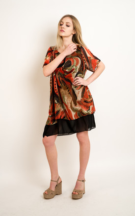 Oversized Short Sleeve Tunic in Orange and Black Abstract Print by CY Boutique