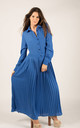 Long Sleeve Pleated Maxi Dress with Collar in Blue by CY Boutique