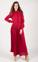 Long Sleeve Pleated Maxi Dress with Collar in Burgundy by CY Boutique