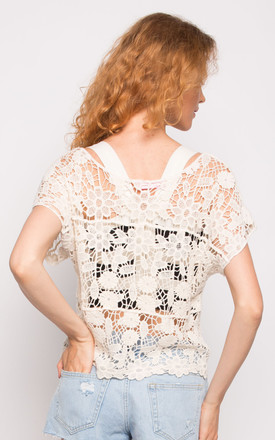 Short Sleeve Crochet Top with Floral Design in White by CY Boutique