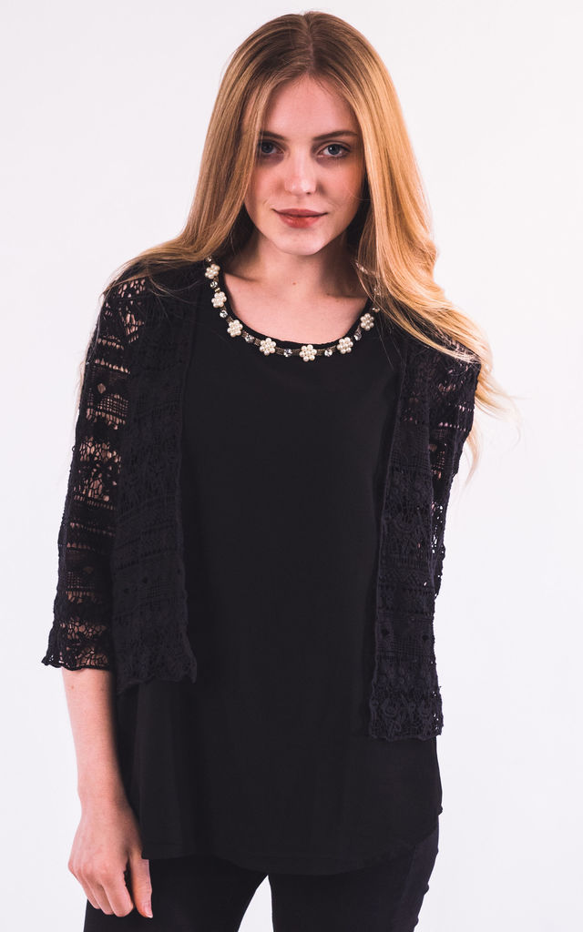 Crochet Cropped Cardigan in Black by CY Boutique