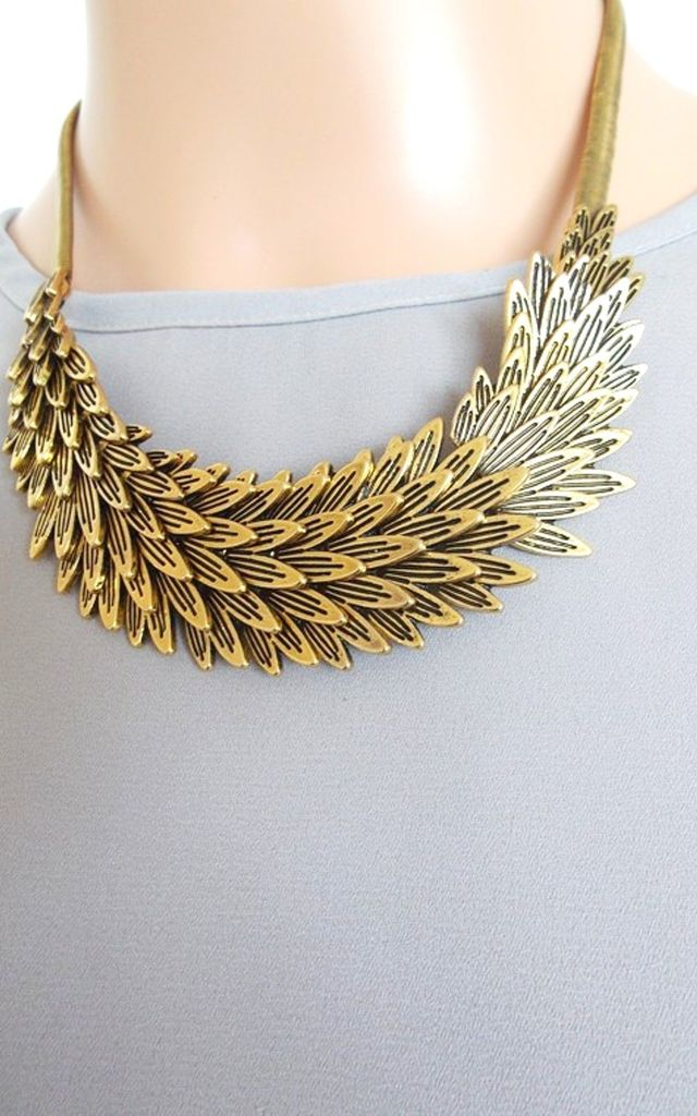 Gold Feather Metal Statement Necklace by Olivia Divine Jewellery