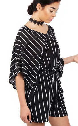 Black Pin stripe Oversized Cut Out Playsuit With Diamante Arm Detail by Urban Mist