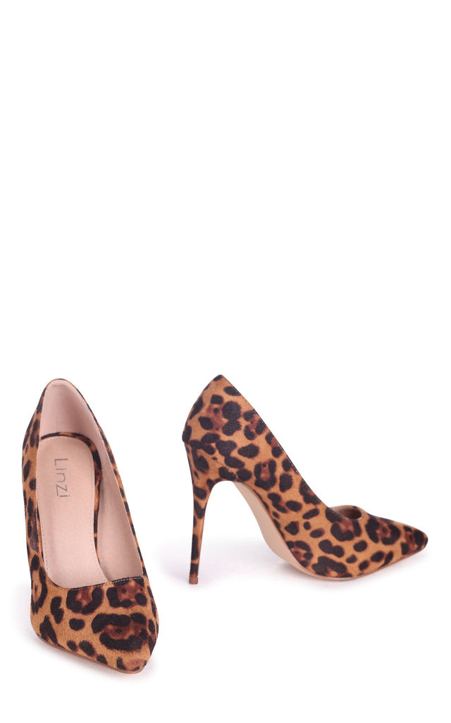 Aston Brown Leopard Suede Classic Pointed Court Heel by Linzi