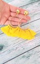 Yellow Tassel Clip-On Hoop Earrings by Olivia Divine Jewellery