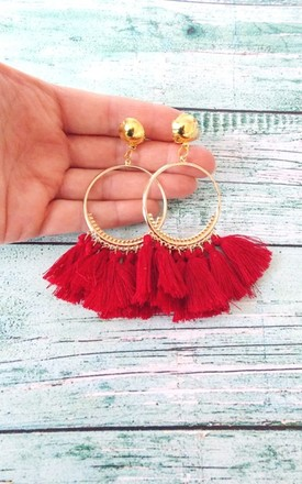 Clip-On Red Tassel  Hoop Earrings by Olivia Divine Jewellery
