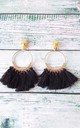 Black Tassel Clip-On Hoop Earrings by Olivia Divine Jewellery