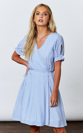 Blue Woven Stripe Wrap Dress by If By Sea Product photo